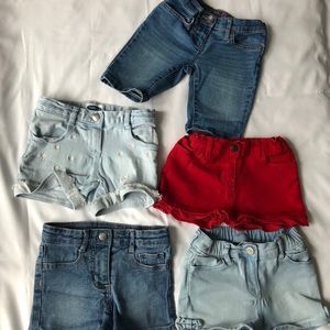5 pair of toddlers girls different brand shorts